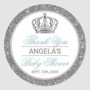 Thank You Silver Blue Prince Crown Baby Shower Classic Round Sticker