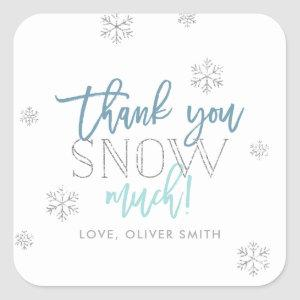 Thank You SNOW Much Silver Blue Square Sticker