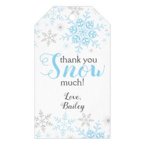 Thank You SNOW Much Winter ONEderland Blue Snow Gift Tags