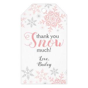 Thank You SNOW Much Winter ONEderland Pink Snow Gift Tags