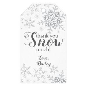 Thank You SNOW Much Winter ONEderland Silver Gift Tags