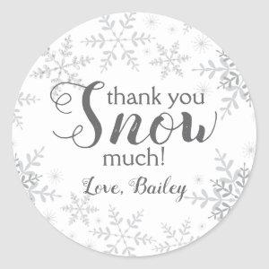 Thank You SNOW Much Winter ONEderland Snowflakes Classic Round Sticker