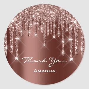 Thank You Sweet 16th Bridal Rose Brown Drips Classic Round Sticker