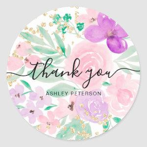 Thank you typography pink floral watercolor gold classic round sticker