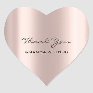 Thank You  Wedding Bridal Rose Heart Heart Sticker