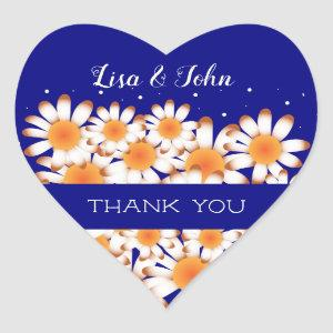 Thank You Wedding Navy Blue Heart Envelope Seal