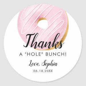 Thanks A HOLE Bunch Donut Birthday Party Favor Classic Round Sticker