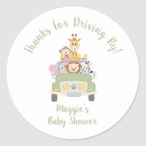 Thanks For Driving By Animal Safari Baby Shower Classic Round Sticker