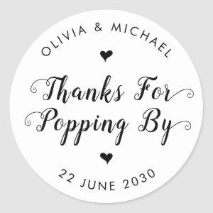 Thanks for Popping By Wedding Popcorn Favor Classic Round Sticker