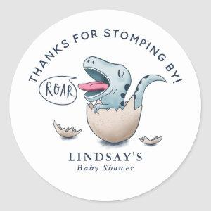 Thanks for Stomping By Dinosaur Baby Shower Blue Classic Round Sticker