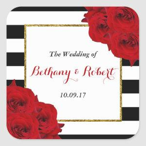 The Chic Modern Luxe Wedding Collection- Red Roses Square Sticker
