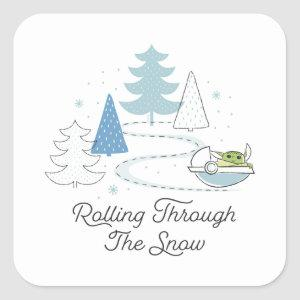 The Child | Rolling Through the Snow Square Sticker