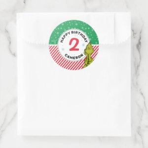 The Grinch Red and Green Snowflake Birthday Classic Round Sticker