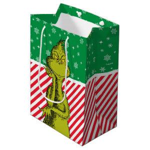 The Grinch Red and Green Snowflake Birthday Medium Gift Bag