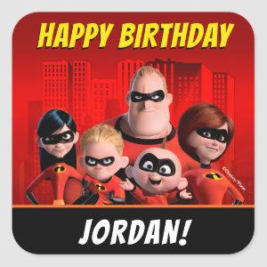 The Incredibles Family Birthday Square Sticker