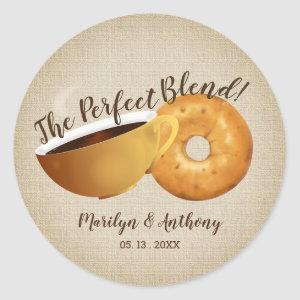 The Perfect Blend Coffee and Bagel | Wedding Classic Round Sticker