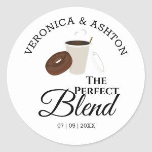 The Perfect Blend Coffee and Donut | Wedding Classic Round Sticker