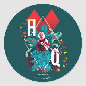 The Suicide Squad   Harley Quinn Floral Diamond Classic Round Sticker