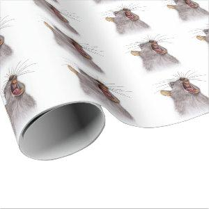The yawning grey rat - watercolor painting. wrapping paper