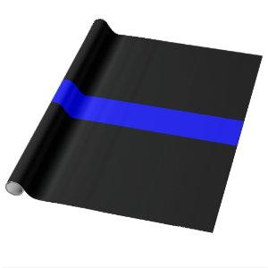 Thin Blue Line - Law Enforcement Police Flag Wrapping Paper