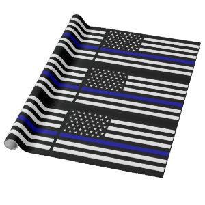 Thin Blue Line Police Flag Wrapping Paper