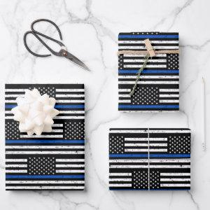 Thin Blue Line Police Retirement Law Enforcement Wrapping Paper Sheets