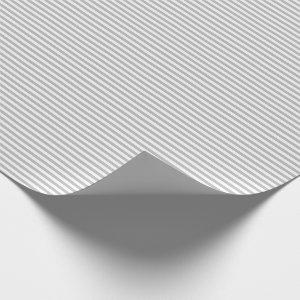 Thin Gray and White Stripes Wrapping Paper