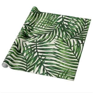 Thin Green Tropical Leaves on White Wrapping Paper