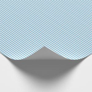 Thin Light Blue and White Stripes Wrapping Paper