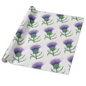 thistle with a twist of tartan wrapping paper