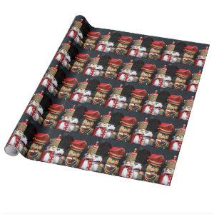 Three nutcrackers on black wrapping paper