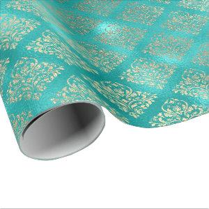 Tiffany Aquatic Blue Gold Shiny Glass Damask Wrapping Paper