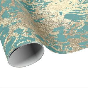 Tiffany Marine Molten Gold Marble Shiny Metallic Wrapping Paper