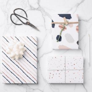Tiffany Styles Collection Rose Gold & Navy Blue Wrapping Paper Sheets