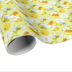 Tiled honey bee pattern party wrapping paper