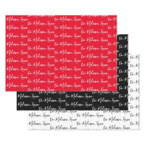 To Your Name Modern Handwriting White, Red & Black  Sheets