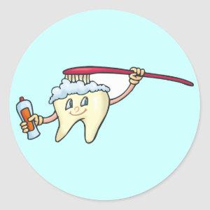 Tooth & Toothbrush ~ Dental Dentist Hygienist Classic Round Sticker