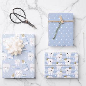 Tooth Wrapping Paper Flat Sheet Set of 3
