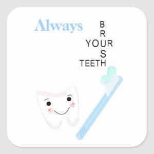 Toothbrush and Tooth with Message Square Sticker