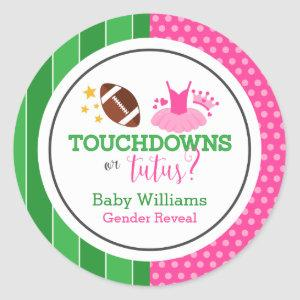 Touchdowns or Tutus Gender Reveal Party Classic Round Sticker