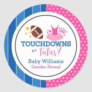 Touchdowns or Tutus Pink Blue Gender Reveal Party Classic Round Sticker