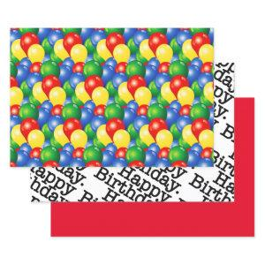 Traditional Happy Birthday balloons Wrapping Paper Sheets