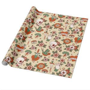 Traditional Old School Tattoo Pattern Wrapping Paper