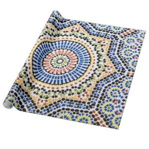 Traditional Portuguese Azulejo Tile Pattern Wrapping Paper