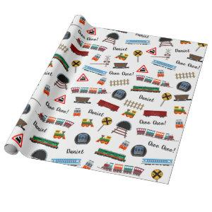 Train Pattern Little Boy First Name Choo Choo Kids Wrapping Paper