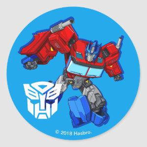 Transformers | Optimus Prime Running Pose Classic Round Sticker