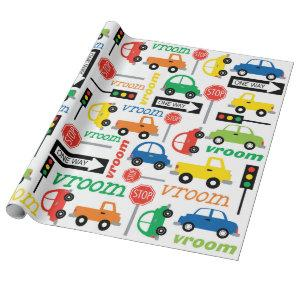 Transportation (Vehicle) Car Truck Bright Color Wrapping Paper