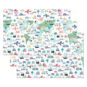 Travel The World Little Explorer Vehicles Wrapping Paper Sheets