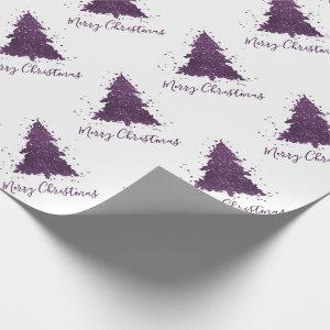 Tree Moody Party | Eggplant Purple Holiday Script Wrapping Paper