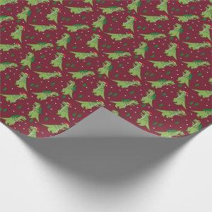 Tree Rex Novelty Dinosaur Christmas burgundy Wrapping Paper